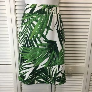 INC scuba knit pencil skirt tropical green palm M